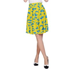Blue Yellow Space Galaxy A Line Skirt