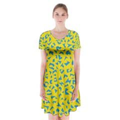 Blue Yellow Space Galaxy Short Sleeve V Neck Flare Dress