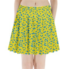 Blue Yellow Space Galaxy Pleated Mini Skirt