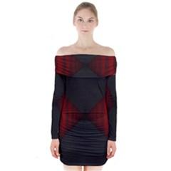 Black Red Door Long Sleeve Off Shoulder Dress