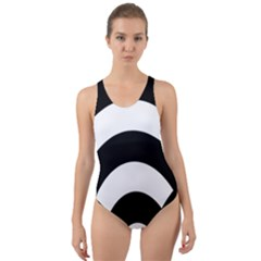Circle White Black Cut Out Back One Piece Swimsuit