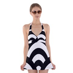 Circle White Black Halter Swimsuit Dress