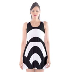 Circle White Black Scoop Neck Skater Dress