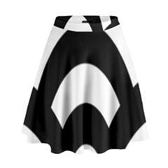 Circle White Black High Waist Skirt