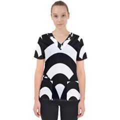 Circle White Black Scrub Top