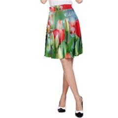 Colorful Flowers A Line Skirt