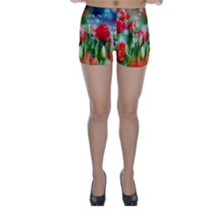 Colorful Flowers Skinny Shorts