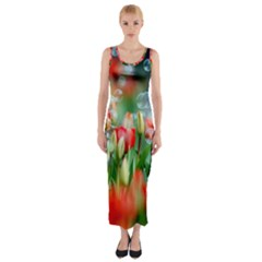 Colorful Flowers Fitted Maxi Dress