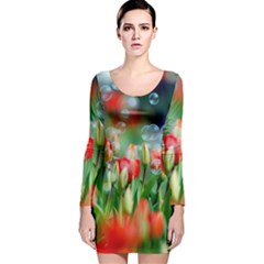 Colorful Flowers Long Sleeve Velvet Bodycon Dress