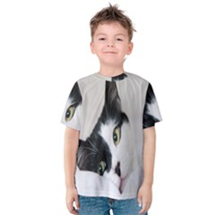 Cat Face Cute Black White Animals Kids  Cotton Tee