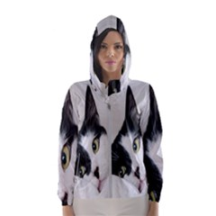 Cat Face Cute Black White Animals Hooded Wind Breaker (women)