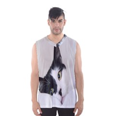 Cat Face Cute Black White Animals Men s Basketball Tank Top