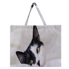 Cat Face Cute Black White Animals Zipper Large Tote Bag