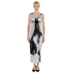 Cat Face Cute Black White Animals Fitted Maxi Dress