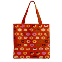 Coffee Donut Cakes Zipper Grocery Tote Bag