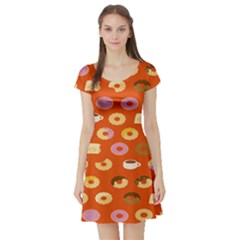Coffee Donut Cakes Short Sleeve Skater Dress