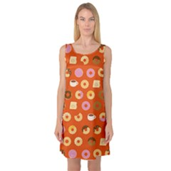 Coffee Donut Cakes Sleeveless Satin Nightdress