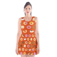 Coffee Donut Cakes Scoop Neck Skater Dress