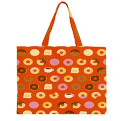 Coffee Donut Cakes Zipper Large Tote Bag