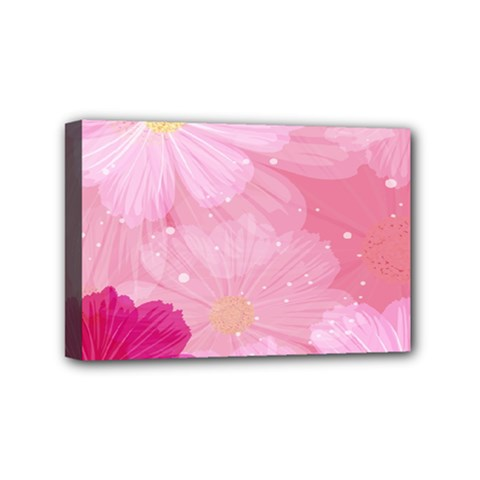 Cosmos Flower Floral Sunflower Star Pink Frame Mini Canvas 6  X 4