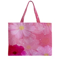 Cosmos Flower Floral Sunflower Star Pink Frame Zipper Mini Tote Bag