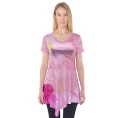 Cosmos Flower Floral Sunflower Star Pink Frame Short Sleeve Tunic