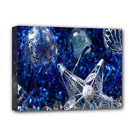 Christmas Silver Blue Star Ball Happy Kids Deluxe Canvas 16  X 12