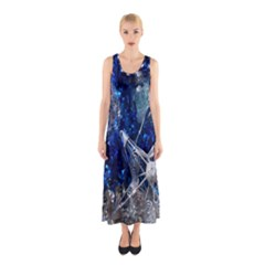 Christmas Silver Blue Star Ball Happy Kids Sleeveless Maxi Dress