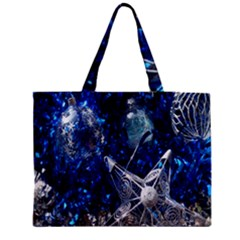 Christmas Silver Blue Star Ball Happy Kids Medium Tote Bag