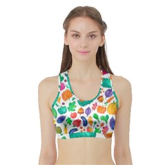 Pattern Autumn White Sports Bra With Border