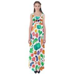 Pattern Autumn White Empire Waist Maxi Dress
