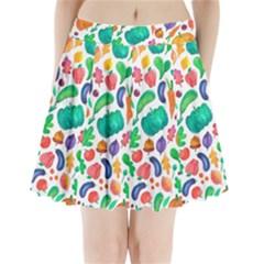 Pattern Autumn White Pleated Mini Skirt