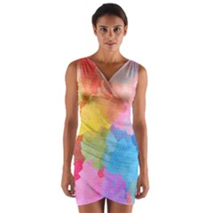 Rainbow Honeycomb Wrap Front Bodycon Dress