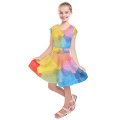 Rainbow Honeycomb Kids  Short Sleeve Dress