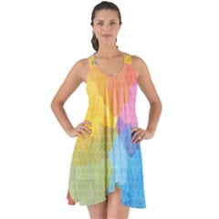 Rainbow Honeycomb Show Some Back Chiffon Dress