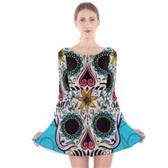 Sugar Skull New 2015 Long Sleeve Velvet Skater Dress