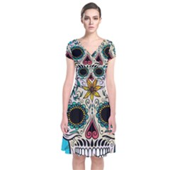 Sugar Skull New 2015 Short Sleeve Front Wrap Dress