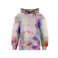 Watercolor Galaxy Purple Pattern Kids  Pullover Hoodie