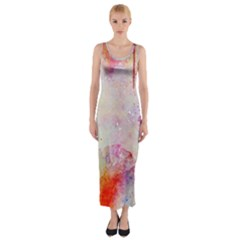 Watercolor Galaxy Purple Pattern Fitted Maxi Dress