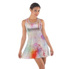 Watercolor Galaxy Purple Pattern Cotton Racerback Dress