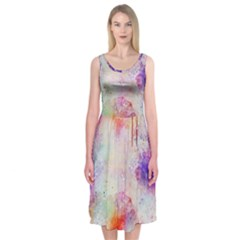 Watercolor Galaxy Purple Pattern Midi Sleeveless Dress