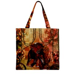 Steampunk, Steampunk Elephant With Clocks And Gears Zipper Grocery Tote Bag