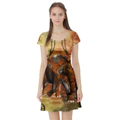 Steampunk, Steampunk Elephant With Clocks And Gears Short Sleeve Skater Dress