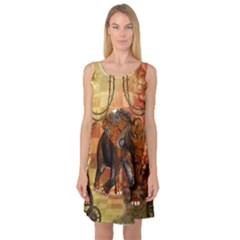 Steampunk, Steampunk Elephant With Clocks And Gears Sleeveless Satin Nightdress