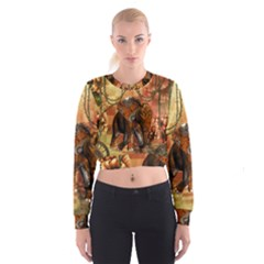 Steampunk, Steampunk Elephant With Clocks And Gears Cropped Sweatshirt