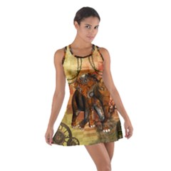 Steampunk, Steampunk Elephant With Clocks And Gears Cotton Racerback Dress