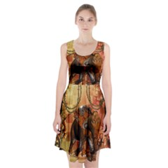Steampunk, Steampunk Elephant With Clocks And Gears Racerback Midi Dress