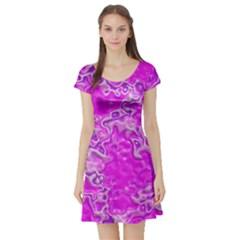 Wet Plastic, Pink Short Sleeve Skater Dress