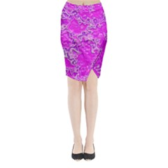 Wet Plastic, Pink Midi Wrap Pencil Skirt