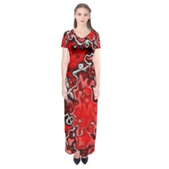 Wet Plastic, Red Short Sleeve Maxi Dress
